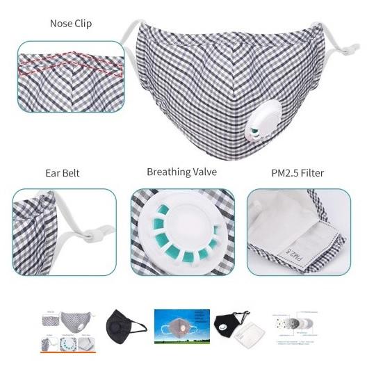 Andningsmask i textil, flergångs, FFP3